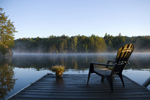 Morning view of the bay from the dock at Weslemkoon lake
